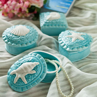 Wholesale Ocean Life Blue Ceramic Gift Box Container for Small Jewelry Pieces Ceramic Crafts and Gifts ZZ002