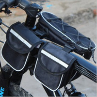 Wholesale Four in one multifunctional bicycle bag front tube bag road mountain bike frame bag with reflective stripe