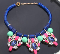 Wholesale Blue beads Chain Colorful Gemstone Clear Rhinestone waterdrops Necklaces Statement Choker Bib Necklace new women collar necklace MM1