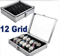 Jewelry Packaging & Display aluminium shipping display - Grid Watch Display Jewelry Storage Box Case Aluminium Square Organizer holder Slots