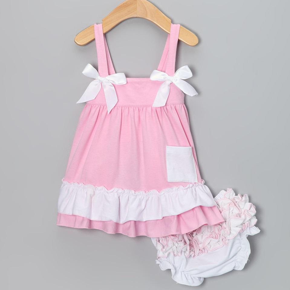 PINK Baby Dress Suits Sleeveless Girls Jumper Sets Blouse Braces ...