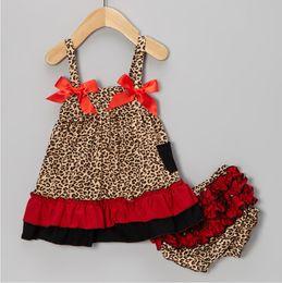 leopard baby clothing set sleeveless girls jumper sets blouse braces dresses children's suits outfit pant underpant panties P514