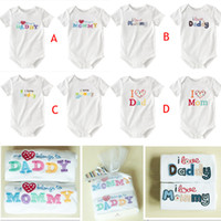 Wholesale I love dad and mom rompers short sleeve cotton organic baby rompers infant one piece bodysuit