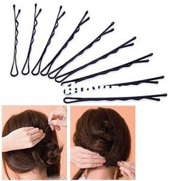 Wholesale 50pcs Metal Waved Hair Clips Bobby Salon Pins Grips Hairpins Barrette Black A320