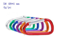 #5 multicolor mixed Aluminum Free Shipping high quality 50pcs packing sale Carabiner Durable 5# Aluminum Climbing Hook(48*4) Accessory Fit for Out door sport