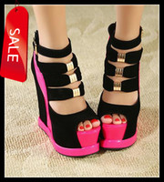 Wholesale Women Stylish Color Bump Black With Pink Sandals Super High Platform Wedge Heel Sandals Size