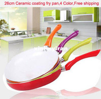 Wholesale 26cm Ceramic Pan Aluminum Alloy Material Ceramic Coating Inside CE FDA Certificate Color Frying Pan pc Dish Towel Gift