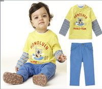 Cheap Free Shipping Candy Color baby cool Fashion Suit autumn baby boy child bear letter print top, trousers BABY clothes 2pc set