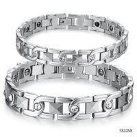 Wholesale Korean version of the new diamond fashion jewelry energy with magnetic anti fatigue couple of titanium steel bracelet GS3358
