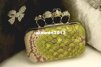 other other Handbags Free Shipping! Snake skull ring clutches, dress bags, Evening Bags, designer handbags women purse, Wholesale