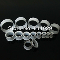 Wholesale internally thread plated white screw ear tunnels mixed gauges Stainless Steel Flesh Tunnel