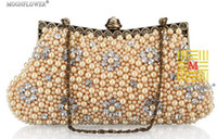 Wholesale Punk Style Newest style gorgeous Imitation pearls beads diamond clutch bags handbag NO3012