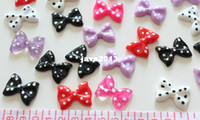 Headbands Jewelry Findings Yes Set of 100pcs mixed lovely polka dots Bow Cabochons (28mm) Cell phone decor, hair accessory supply, embellishment, DIY