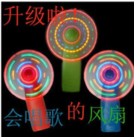 Wholesale Christmas gift Luminous led mini fan flash music colorful in the small fan light night market toy