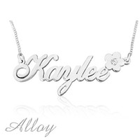 best flower names - Alloy Customized Name Necklace with Lovely Flower Handmade Best Gift for You or Your BFF