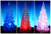 Wholesale 22cm X Ice Crystal Acrylic Christmas Trees Holiday Home Light Up Color Changing Winter Lane Via EMS UPS FEDEX DHL