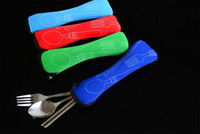 Wholesale Travel Office Stainless Steel Tableware Bag Portable Spoon Fork Chopsticks Three piece Flatware Set