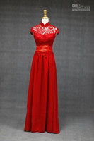 Wholesale Chinese Wedding Fusion Bridal Gown Dress in Lace Supreme High Quality White Red Evening Dress