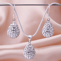 Wholesale Dazzling Clear Crystal Disco Water Drop Pendant Fit silver mm quot Snake Chains New Shamballa Necklace amp Earrings Set sets Hot
