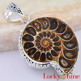 Wholesale Boxing Day Unisex Jewelry Antique Silver Natural Ammonite Necklace Pendant P0405