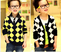 Boy baby wool cardigan - 2013 new arrival Baby Sweaters grid v neck knit long sleeve boys casual cardigan Year children wool coat QQ222