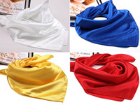 Wholesale Hot Sale Solid Color Small Square Satin Artifical Silk Scarf for Ladies Women s Scarves Handkerchief cm cm G22