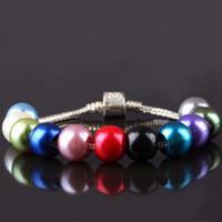 Wholesale Wholesales Mixed Colors Acrylic Faux Shiny Pearl Rondelle Loose Large Hole Charm Beads Fit European Bracelet