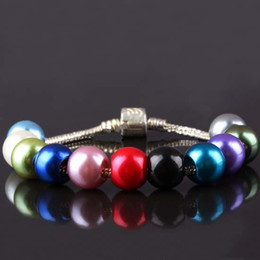 Wholesale Wholesales Mixed Colors Acrylic Faux Shiny Pearl Rondelle Loose Large Hole Charm Beads Fit European Bracelet