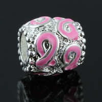 Wholesale Pink Enamel Ribbon Awareness Large Hole Charms Beads Loose Spacers For European Bracelet x10mm