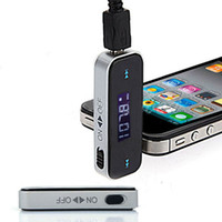 Wholesale 3 mm Universal LCD Stereo Car FM Radio Wireless Transmitter for iPhone iPod iPad Cell Phone MP3