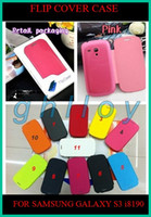 For Samsung Leather  Ultrathin Flip leather case cover shell For samsung Galaxy S3 III mini i8190 30pcs lot