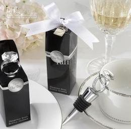 El nuevo venir Favorl boda botella de vino forma de la bola de cristal anillo de diamantes tapón tapón de vino / ángeles / mariposas / nieve / corazón 100 PC por el rafi