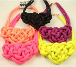 10pcs lot Wholesale handmade Neon knitted choker necklace,knitted Gift necklace Collar Necklaces Summer Party Jewellery free shipping