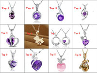 Wholesale Fashion Silver Gemstone Pendant Necklace Crystal Platinum Necklace Mix