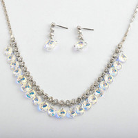 Wholesale 925 silver clear white crystal necklace earrings with swarovksi element AB gemstones NJ Rihood Trading new arrival