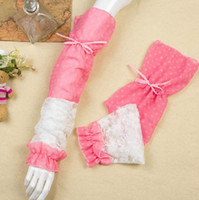 Wholesale Lace Bow Thin Summer Long Arm Shade UV Sunscreen Gloves Pair Protection Sleeve Biking Driving Gloves