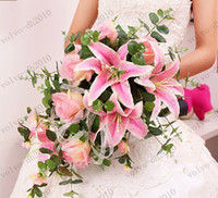 Wholesale XYA68 Rose Lily Bride Wedding Bouquet Hand Holding Flower Artificial Flowers Adornment Silk Flower Colors