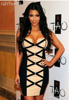 Sheath/Column Sexy Ruffle 2013 kim kardashian dresses Bandage Dresses mini Evening Dresses For Sale BD005