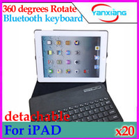 Wholesale DHL Wireless Bluetooth Keyboard with Leather Case Cover Degree Rotating for ipad L11