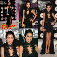 dhgate girls - 2013 DHgate Selena Gomez Celebrity Dresses High Neck Black Lace Summer Chiffon High Low Prom Dresses BO1408