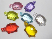 Wholesale 50 Mixed Colour Transparent Acrylic Turtle Charm Pendants mm quot