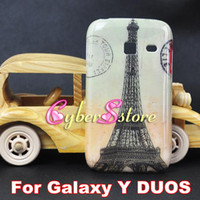 Plastic For Samsung  Fashion London Big Ben Retro Old Paris LA Tour Eiffel Tower EXPRESS TRAFFIC hard Shell Plastic Case Cover For Samsung Galaxy Y DUOS S6102