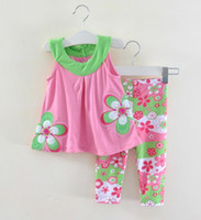 Wholesale new Baby girl s fashion suit cotton summer hot sell flower gallus dress child garment children Clothing infant wear pink