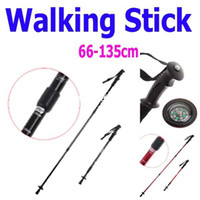 "PVC 0 Aluminum Free Shipping, 4PCS lot Adjustable Telescopic AntiShock Trekking Hiking Walking Stick Pole 26 "" to 53 "" with Compass Red"