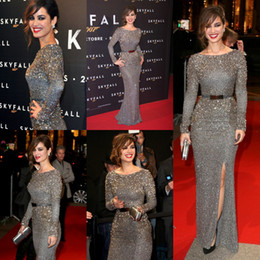 Wholesale 2013 New Berenice Marlohe Red Carpet Elie Saab Sequined Sash Crystals Celebrity Dresses Evening With Long Sleeves BO1400