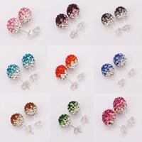 Silver Plate/Fill women earrings lot - 100Pairs OFF Shamballa earrings Silver mm Gradient Color Disco Ball Crystal Stud Women s Stud