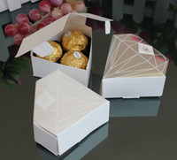 Favor Boxes Silver Paper New Arrival-1000pcs Silver or Gold or White Color Diamond Style Wedding Favor Box and wedding gift box-Free Shipping