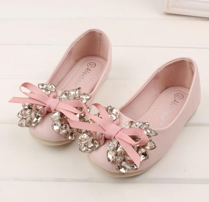 2013 Latest Children Girls Autumn Pink Beige Bowknot Crystal Shoes
