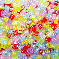 Wholesale Cube Alphabet Acrylic Beads mm Colorful White Free Shippping