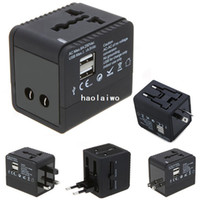 Wholesale 100 V USB port Worldwide Universal Travel Adapter wall Charger US EU UK AU Plug V A for iPhone S ipad HTC MP3 MP4